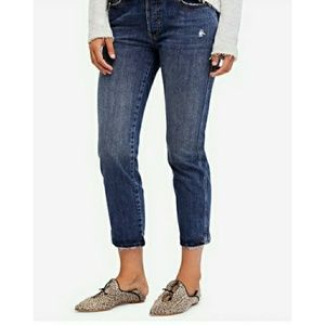FREE PEOPLE WOMENS STRETCH STRAIGHT JEANS